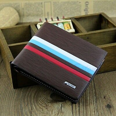 Men's Stylish Bifold Business Leather Wallet Card Holder Coin Wallet Black Purse