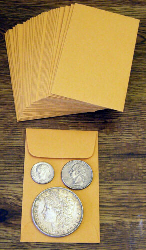 coins not included 100 NEW SMALL 2 1//4 X 3 1//2 KRAFT COIN ENVELOPES 5.7x8.9cm