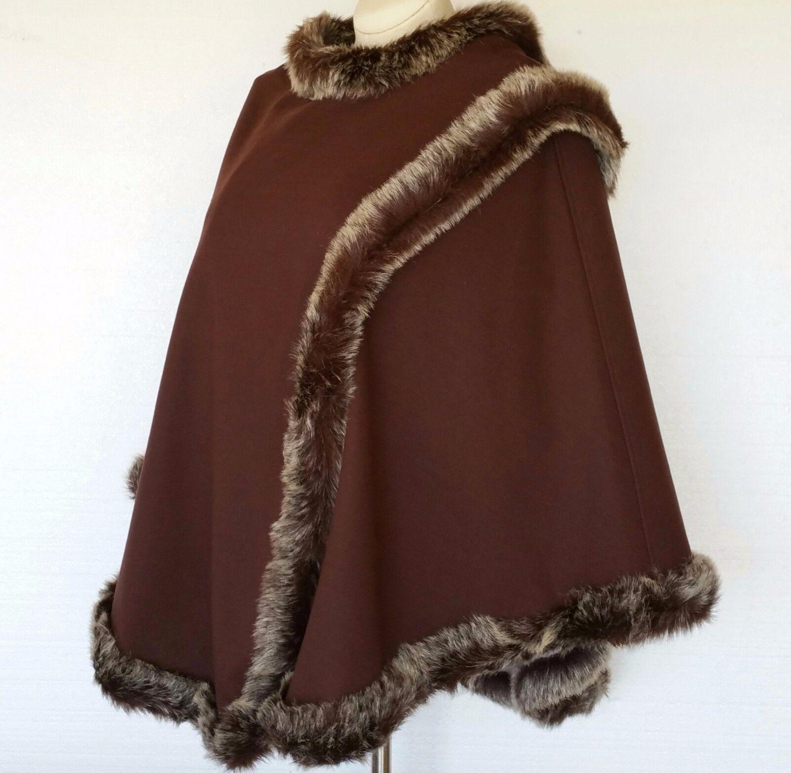 Randolph Duke 2 pc Outfit NEW Poncho Cape & Reversible Top Faux Fur damen Sz XS