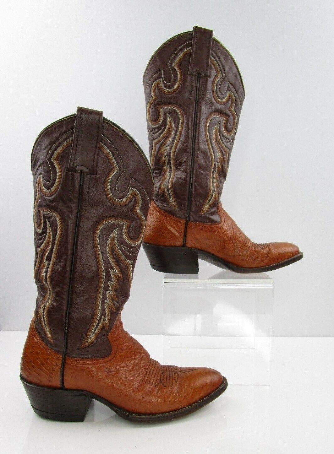 Ladies Cowboy ABC Boots Brown Smooth Ostrich Leather Cowboy Ladies Western Boots Size: 6 5e2906