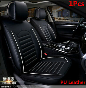 6D-Full-Surrounded-Car-Single-Front-Seat-Cover-Cushion-Black-amp-White-PU-Leather