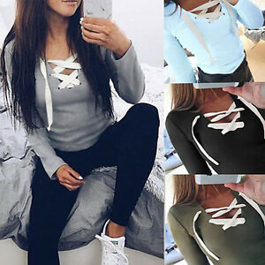 Women-039-s-Bandage-Long-Sleeve-Hoodie-Sweatshirt-Pullover-Sweater-Coat-Sport-Jacket