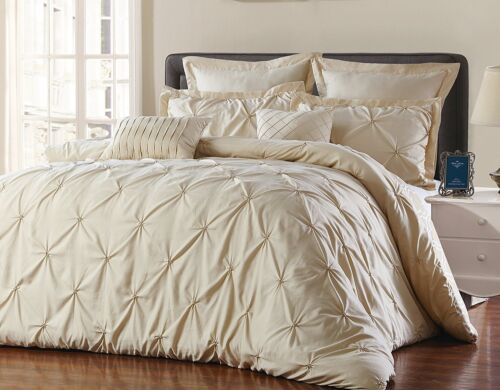 Unique Home/'s Pinch Pleat Alternative Comforter Taupe 8pc Luxury Size Queen//King