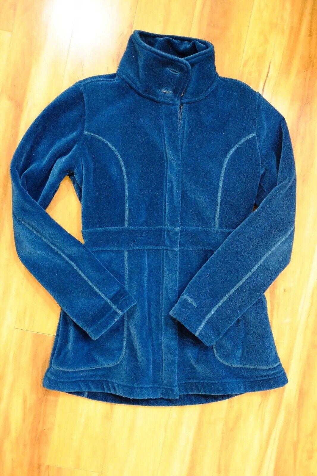 Patagonia Green bluee Velour Fleece Coat Size 2 Womens. Polartec Fleece R2