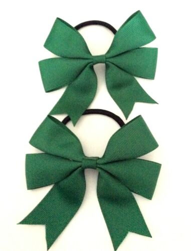 With or Without  Tails Hair Bobbles Sold In Pairs Handmade Girls Green School