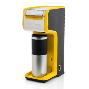 Yellow 2 In 1 Single Serve Coffee Maker Brewer, Ground & K-Cup Pods, Slim Design
