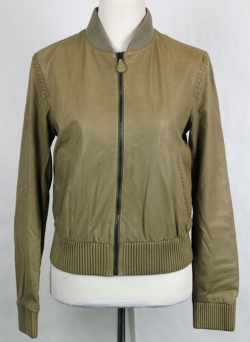 $6650 Bottega Veneta Women's Leather Jacket w/Braid Pattern Beige 323440 2713