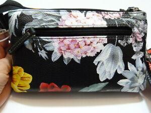 NWT * Stone Mountain printed floral Tara leather crossbody bag w/ battery