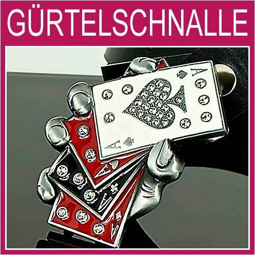 Gamle Poker Gürtelschnalle,Strass Karten Herren,Damen,Gürtel,BUCKLE,NEU,1G33f