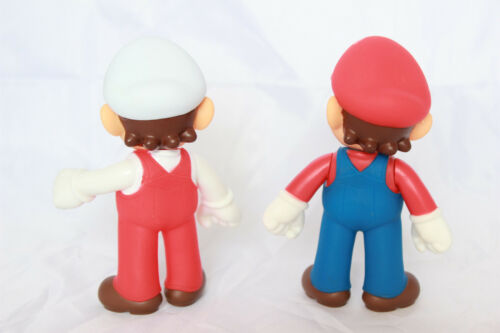 "Super Mario Brothers Bros 5/"" Action Figure Fiery Fire Birthday Cake Topper Set"
