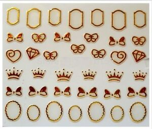 3D-Nail-Art-Decals-Transfer-Stickers-French-Gold-Crowns-Diamonds-Bows-3D6016