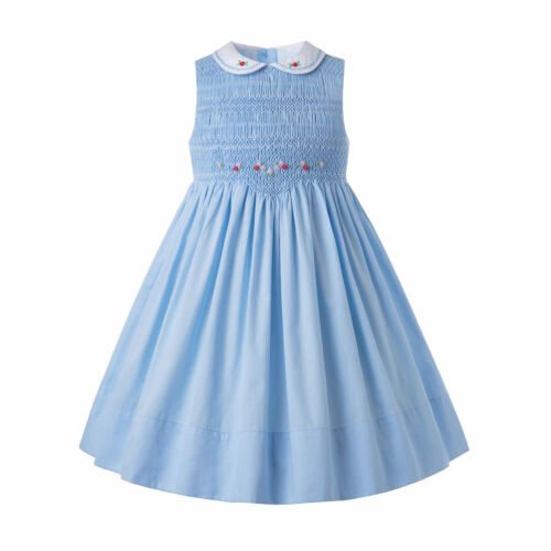 Girls Handmade Smocked Dress Communion Party Pageant Prom Embroidery Sleeveless