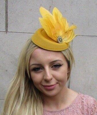 Caramel Tan Mustard Pheasant Feather Pillbox Hat Fascinator Races Hair Clip 7557