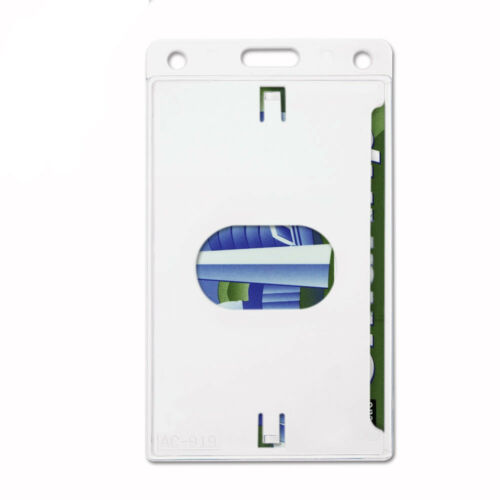 2 PCS ID Card Holder Clear Hard Plastic Badge Waterproof Business Case USA