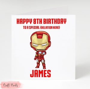 Any Name /& age Personalised Iron Man Birthday Card Son Grandson Nephew Godson