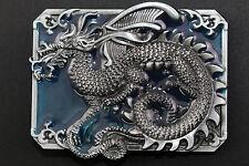RECTANGULAR BLUE CHINESE DRAGON BELT BUCKLE METAL CALENDAR TRADITIONAL FANTASY