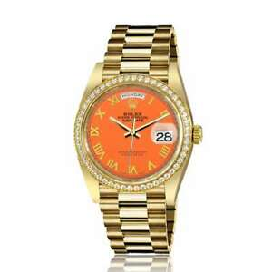 Rolex-36mm-Presidential-18kt-Gold-Orange-Color-Roman-Numeral-Dial-Diamond-Beze