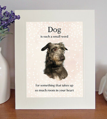 Deerhound 8 x 10 Free Standing A HOUSE IS NOT A HOME Picture 10x8 Dog Print Gift
