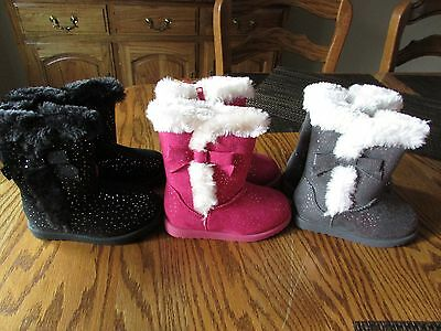 New Jumping Beans Patsy Pink Faux Fur Lined Boots TODDLER Girl Size 5-7 $44.99