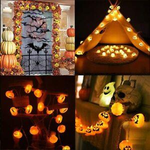 Halloween Kurbis Led Lichterkette Horror Party Lichter Aussen Beleuchtung Deko Kf Ebay