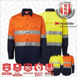 HI-VIS-SHIRT-SAFETY-COTTON-DRILL-WORK-WEAR-Air-Vents-UPF-50-LONG-SLEEVE-3M-Tape