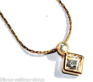 Collier Moderne Chaîne Pendentif Couleur Or Cristal Blanc Bijou Necklace