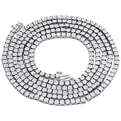 1 Reihen Halskette Original Diamant Gliederkette Herren 925 Sterlingsilber 36 | Jade Weiß