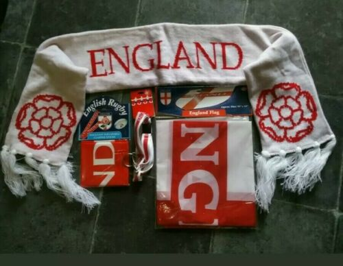 ENGLAND SIX NATIONS RUGBY FANKIT SCAF.CLAPPER STICKS.LANYARD.FLAG 1//2 PRICE DEAL