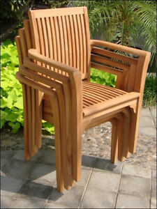 Admirable Details About Set Of 2 Outdoor Teak Stacking Arm Chairs Garden Furniture Patio Dining Deck Lua Creativecarmelina Interior Chair Design Creativecarmelinacom
