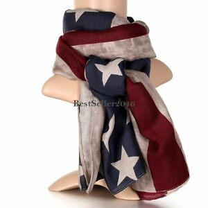 Vintage-Patriotic-USA-American-Stars-Stripes-Flag-Scarf-Womens-Wrap-Long-Scarves