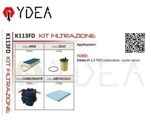 Inspektionskit Filter Ford Fiesta VI 1.4 TDCI 50 Kw - Ydea K113FD