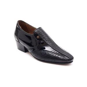 nero slip on cubani brevetto Mens pelle formali tacchi in Lucini sposa di da scarpe coccodrillo taOw8qptzn