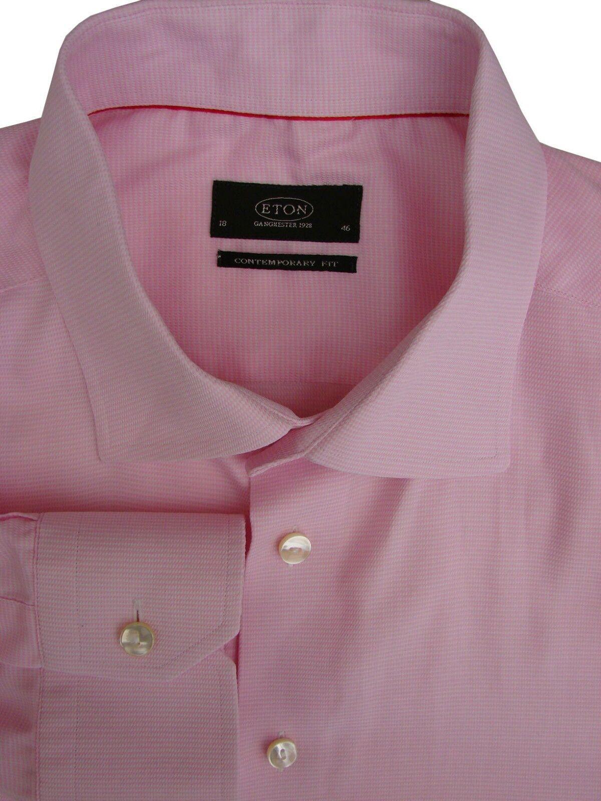 ETON CONTEMPORARY Shirt Mens 18 L Pink & White Mini Houndstooth