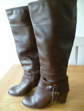 """OFFICE SIZE 40 UK6.5 LADIES BROWN LEATHER KNEE HIGH BOOTS 3"""" HEEL FULLY LINED"""
