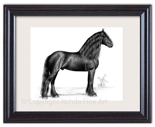 Frisón Semental barroco caballo  negro de arte enmarcado magnífico retrato de Países Bajos  Más asequible