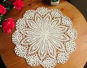 Round-Placemat-Kitchen-Tablecloth-Mat-Dining-Ware-Coasters-Non-slip-Crochet-Pad