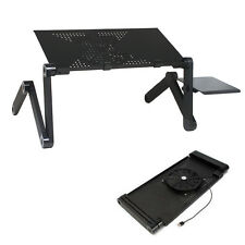 Adjustable Folding Laptop Notebook PC Desk Sofa Table Stand Bed Tray+Coolin