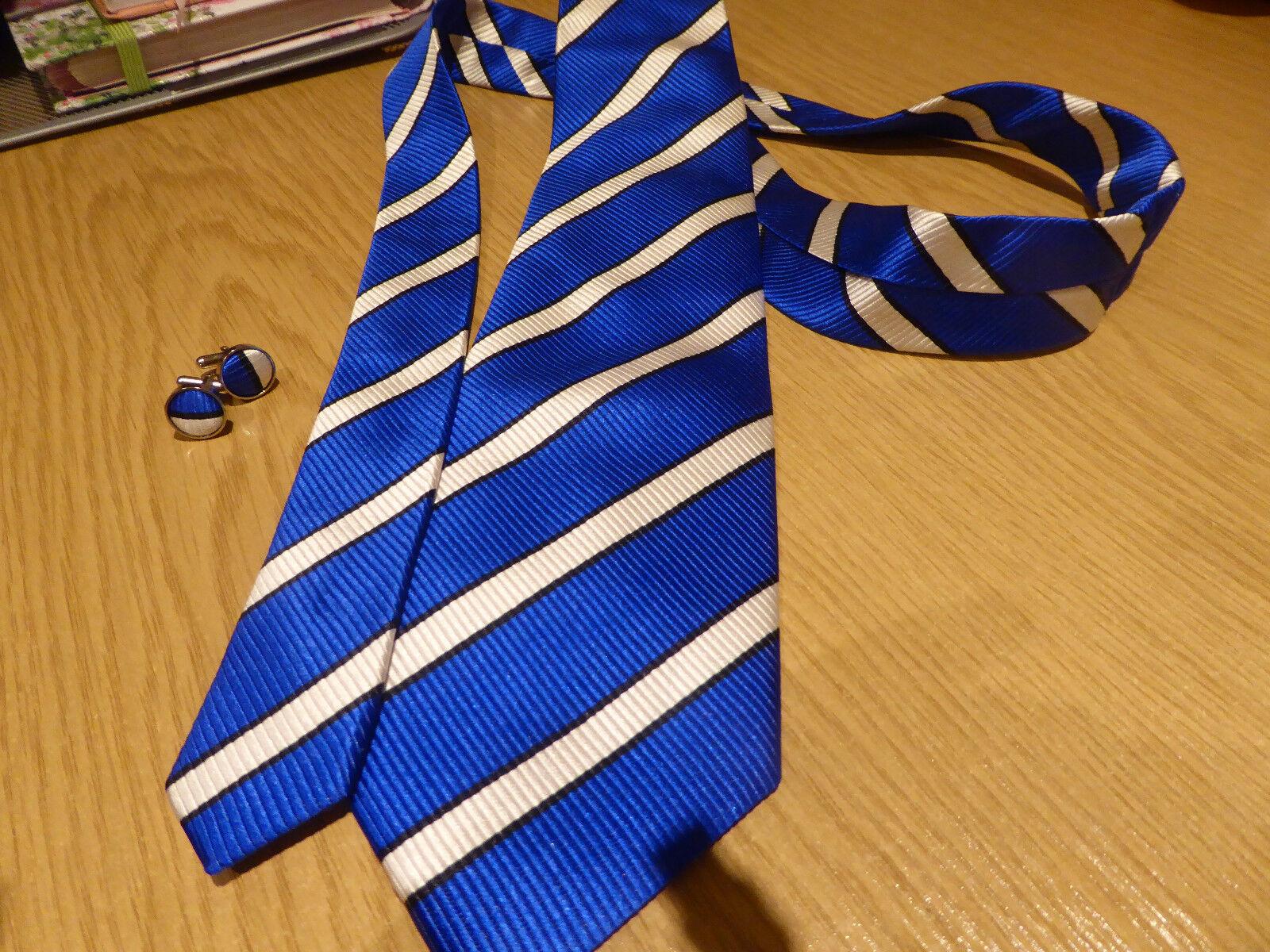 Azul Y Blanco Corbata Y Gemelos