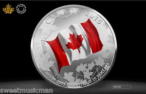 Canada 2015 50th Anniversary Flag Coloured $25 for $25 Pure Silver Coin