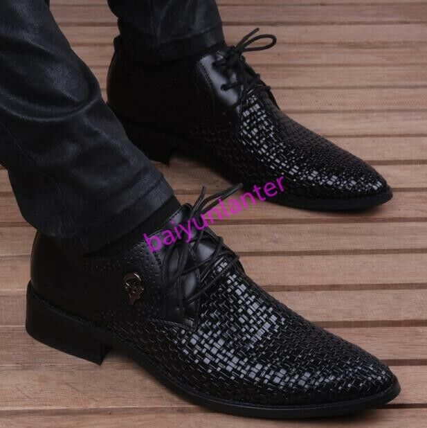 Mens Weave Hollow Out Casual Business Lace Up Pointy Toe shoes Vogue Summer Hot