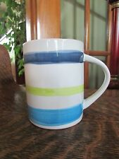 STARBUCKS 2008 BLUE AND GREEN STRIPED COFFEE MUG CUP 14 OZ