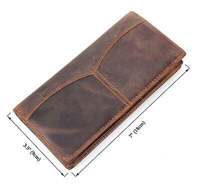 Men's Genuine Leather Wallet Bifold Long Money Card Holder Clutch Purse Brown