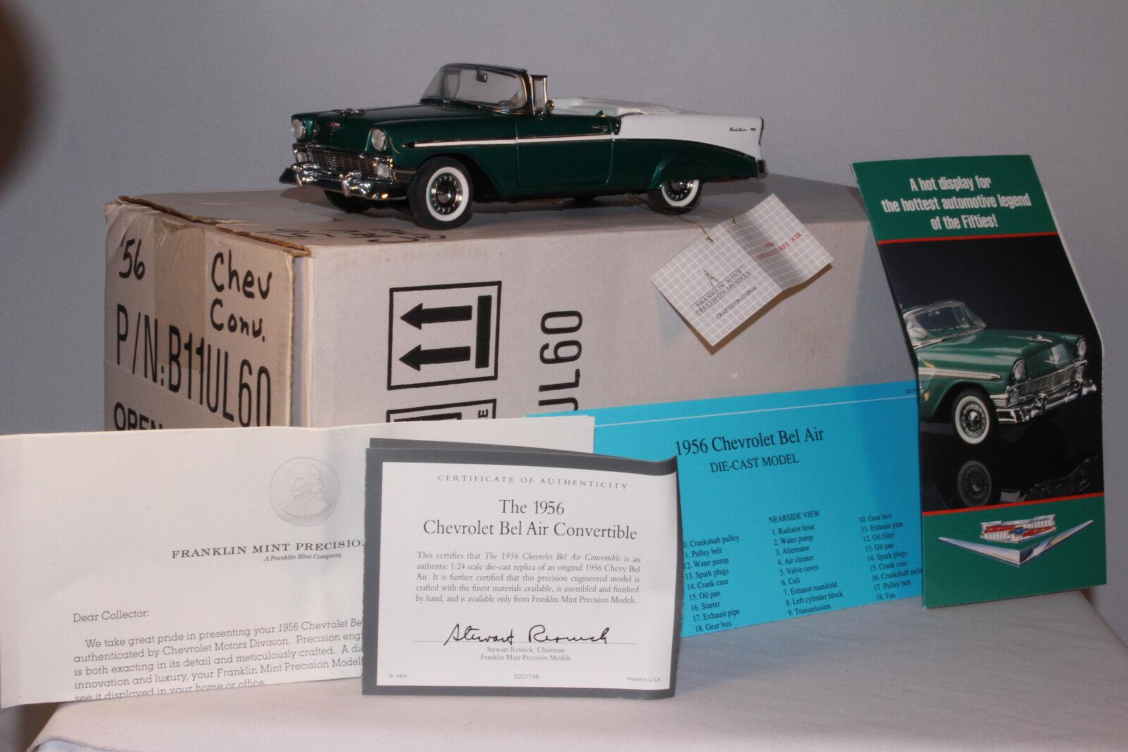 Franklin Comme neuf 1956 Chevrolet Cabriolet, avec boîte d'expédition, échelle 1 24th