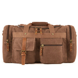 New-Canvas-Travel-Tote-Luggage-Large-Men-039-s-Weekend-Gym-Shoulder-Duffle-Bag-amp-Strap