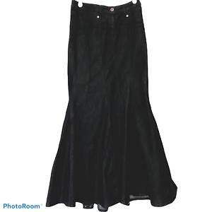 Bisou-Bisou-Michele-Bohbot-Dark-Denim-Mermaid-Trumpet-Maxi-Skirt-Size-8-Modest