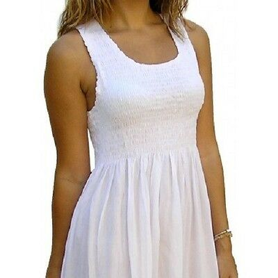 NEW LADIES FLATTERING SINGLET SMOCK DRESS MID LENGTH 4 COLOURS FREE SIZE 8 - 18
