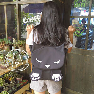 Harajuku-Cute-Cat-Paw-Backpack-Lolita-Girl-039-s-Shoulder-Bag-School-Bag-Black-amp-Pink