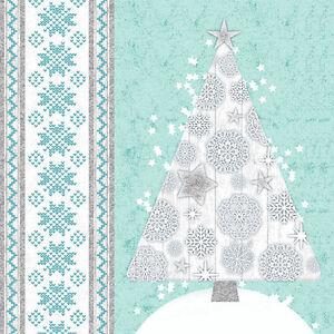 300-Servietten-3-lagig-1-4-Falz-33-cm-034-Blue-Crystals-034-Weihnachten-Party-Deko