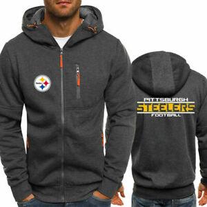 Pittsburgh-Steelers-Fans-Deportivo-Con-Capucha-Chaqueta-Sweater-Cierre-chaqueta-otono-Prendas-para
