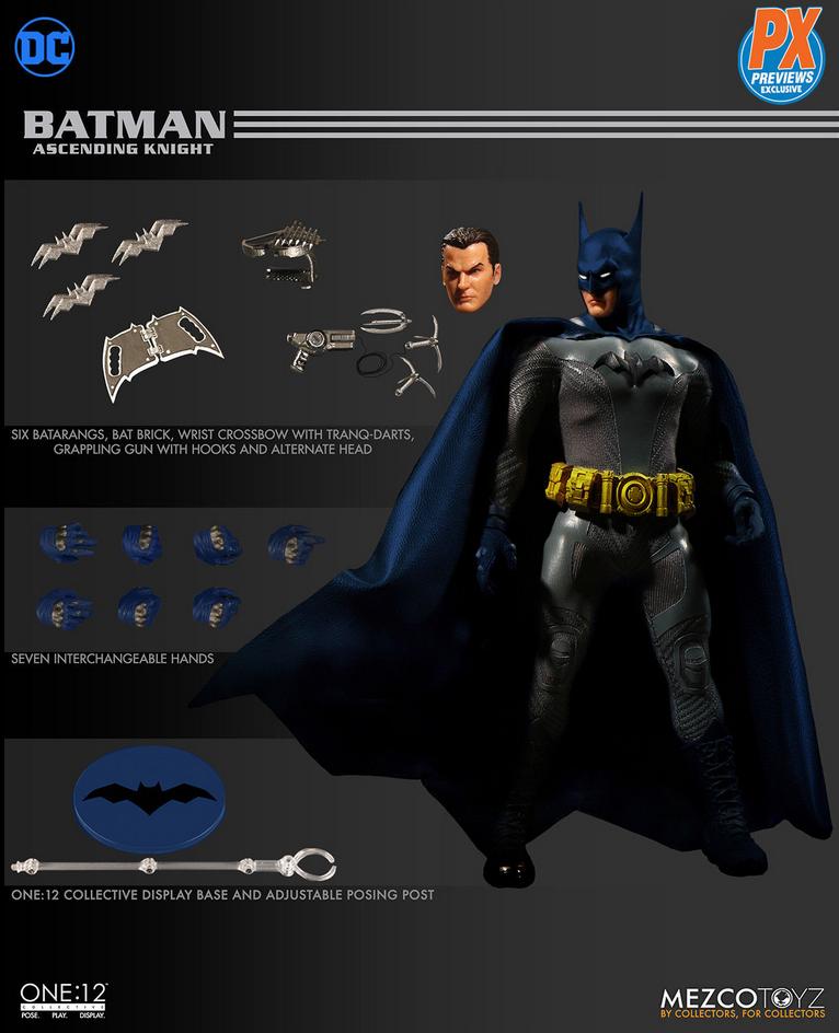 DC Mezco PX Previews Batman Ascending Knight blu Version One 12 Action Figure